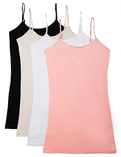 Womens Fitted Camisole - Caramel Cantina 4 Pack Juniors Long Length Basic Cami (Medium, Black/White/H.Bg/Cor)