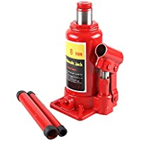 Hydraulic Bottle Jack 8 Ton Capacity Car Caravan Truck SUV Lift Safety Valve High-Quality Heavy Duty Lifter Repair Lifting Tool adjustable screw-up height Max Height: 38cm