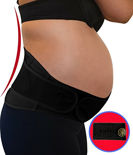 Maternity Belt Support for Back, Pelvic, Hip, Abdomen, Sciatica Pain Relief 2nd-3rd Trimester | Adjustable Belly Band for Pregnancy Brace - Comfortable Girdle for Running, Walking, Sitting (BLACK)