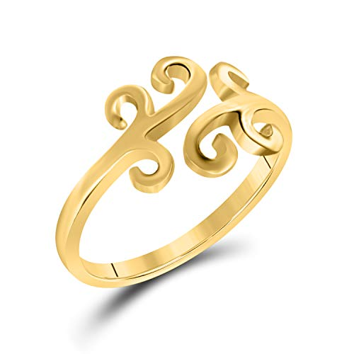 (Awesome 14K Yellow Gold Over 925 Sterling Silver Adjustable Swirl Scroll Toe Ring or-Finger Ring)