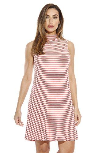 (Just Love 401562-CR-1X Stripe Short Dress/Summer Dresses for Women Cream/Rust)