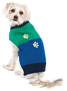 Fashion Pet Lookin Good Four Paws Crewneck Sweater for Dogs, X-Small, Green