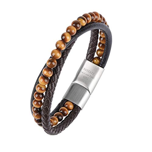 HASKARE Mens Bead Leather Bracelet Genuine Stone Tiger Eye Black Obsidian Beads Leather Bracelet with 316L Stainless Steel Magnetic-Clasp for Men, 7.87