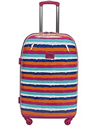 Double Dutch Club Water Color Stripe Warm 20 Inch Hardside, Pink, One Size