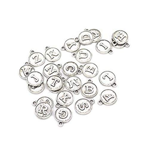 78pcs Alloy Round Shape 26 Alphabet English Letters Charms DIY Metal Jewelry Findings 15x12mm -