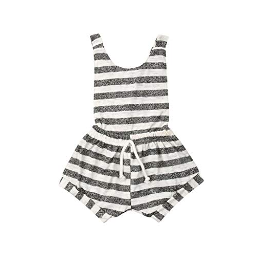 Baby Girls Jumpsuit Unisex Backless Striped Casual Sleeveless Criss Cross Romper Short Outfits (White, Recommend Age:3-6 Months)