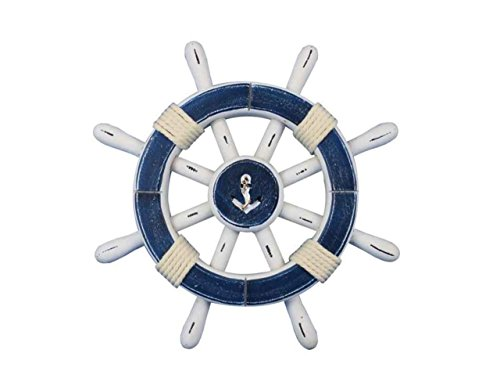 Hampton Nautical  Rustic Dark Blue & White Decorative Ship Wheel with Anchor 12