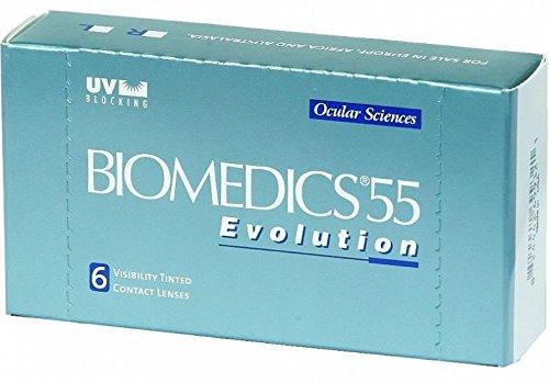 Biomedics 55 Evolution Monatslinsen weich, 6 Stück / BC 8.6 mm / DIA 14.2 / -2,25 Dioptrien