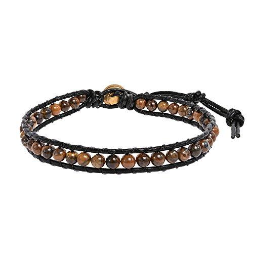 AeraVida Tiger's Eye Round Charm Single Strand Leather - Inch Bracelet Strand 7 Single