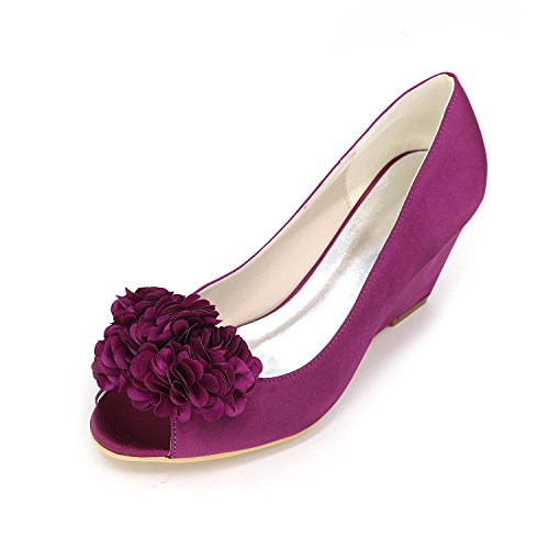 L@YC Women High Heels Spring Summer autumn Slope with Open Toe Velvet Wedding Red Purple z0f3n