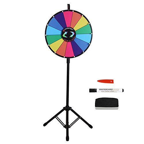 Best Deals! Voilamart 18 Inch Prize Wheel with Tripod Floor Stand Foldable 14 Slots with Color Dry E...