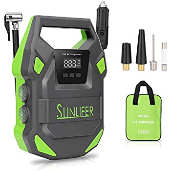Sunlifer Digital, 12V Portable Air Compressor, 150 PSI Auto Tire Pump with Bright Flashlight, SOS Emergency Light and Carry Handle for Car, Motorcycle, ...