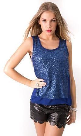 c5c2e4fea930f3 Susan Graver Artisan Printed Liquid Knit Embellished Top 39312289 Blue Women  s Blouses   Tops Source · Womens Ladies Semi Sheer Chiffon Metallic Sequin  ...
