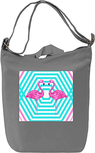 Two Flamingo Pattern Borsa Giornaliera Canvas Canvas Day Bag| 100% Premium Cotton Canvas| DTG Printing|