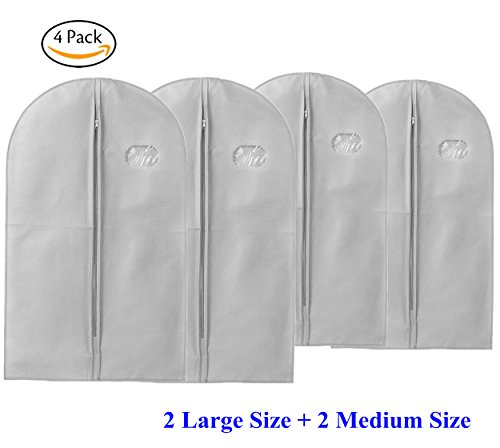 TAOTEC 4PCS Garment Covers Breathable Clothes Covers Dustproof Mothproof Protector (Cotton Woven Bag)