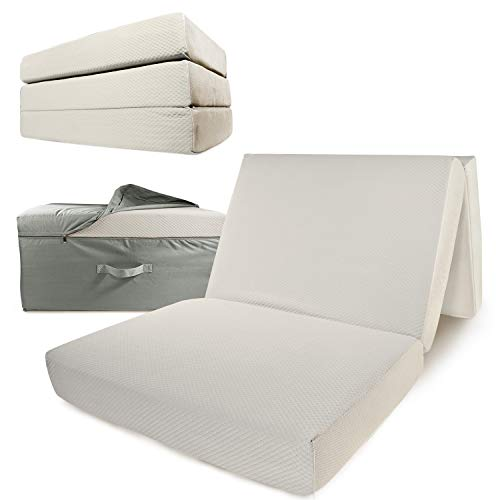 Portable Mattress - Folding Twin XL Memory Foam Guest Fold Up Bed w/Case | Tri-Fold (6 Inch) Travel Away Floor, Futon & Camp Cot Topper for Fast Trifold Foldable (Fold-Up & Fold-Out) Sleep Comfort
