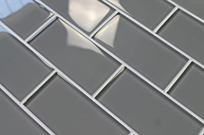 "Pebble Gray 3"" x 6"" Glass Subway Tiles by Rocky Point Tile"