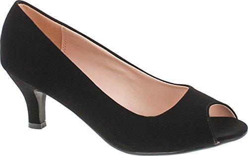 - Bonnibel Wonda-2 Womens Peep Toe Low Heel Glitter Dress Pumps,Black Nubuck,7