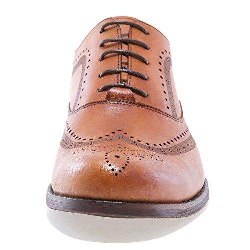 Spring Newyork Mens Vickers Wingtip Leather Oxford Shoe Tan