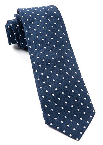 Linen Blend Dotted Dots Navy 2.5 Inch Tie Dotted Necktie