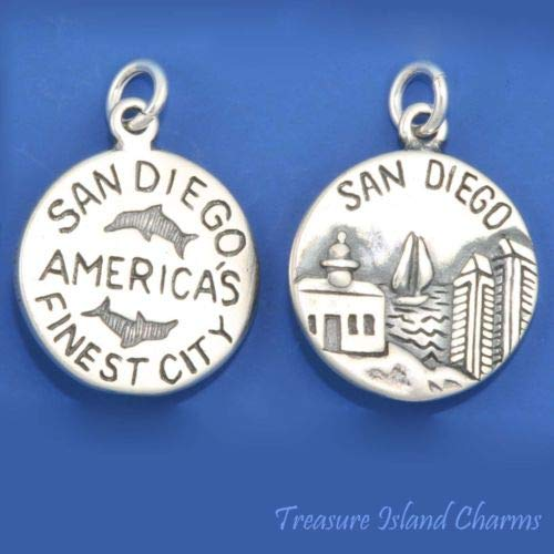 San Diego California Americas Finest City 925 Solid Sterling Silver Round Charm Crafting Key Chain Bracelet Necklace Jewelry Accessories Pendants -