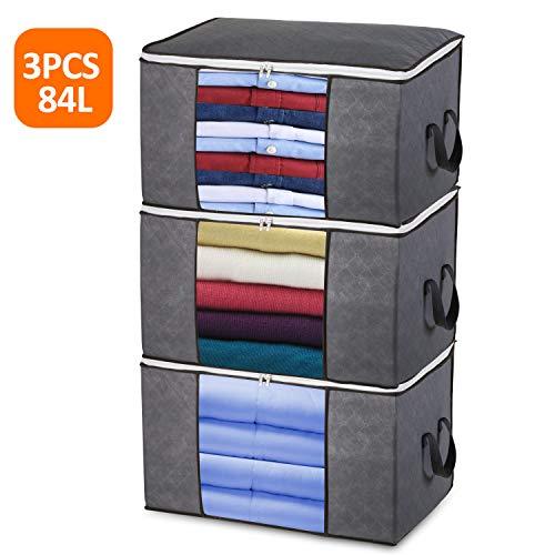 Storage Bags for Blanket, Semai 84L Large Foldable Storage Bag Storage Bin, 3pcs Clothing Organizer Fabric Linen Storage for Duvet, Pillow, Bedroom
