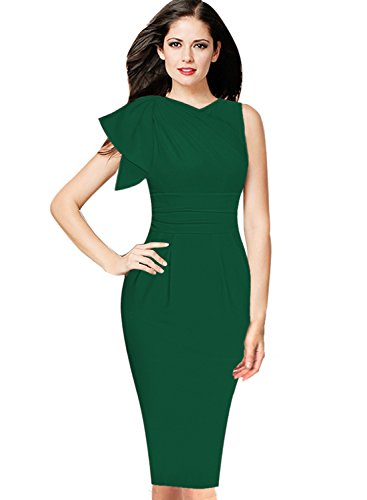 VfEmage Women's Celebrity Elegant Ruched Wear to Work Party Prom Bodycon Dress 8765 GRN M by VfEmage