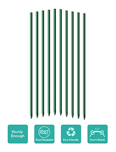 Ecostake Garden Stakes 5-Ft for Climbing Plants Supports Pole 10 Pack Rust-free Plant Sticks Fence Post