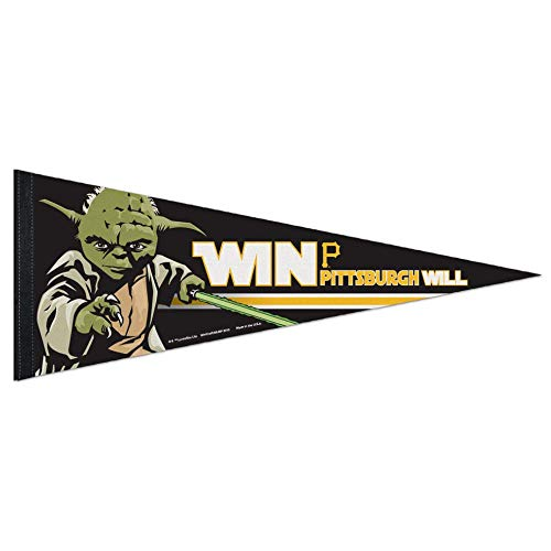 Bek Brands Baseball Teams Special Collector's Flag Banner Pennant with Yoda, Chewbacca, Darth Vader, 12 x 30 in (Pittsburgh Pirates, Yoda) ()