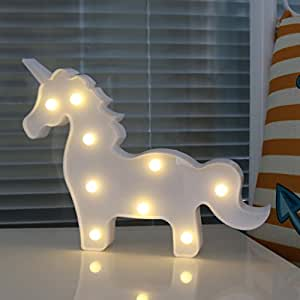DELICORE White Unicorn Shaped Animal Light Table Lamp 3D Marquee Unicorn Sign Marquee Letter Nightlight Home Decoration Battery Operated