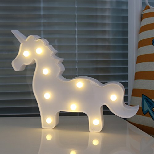 DELICORE White Unicorn Shaped Animal Light Table Lamp 3D Marquee Unicorn Sign Marquee Letter Nightlight Home Decoration Battery Operated (Table Animal Lamps Decor)