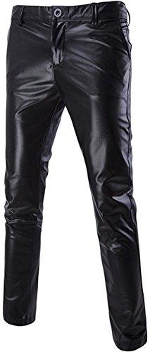 Sportides Men's Rave Rocker Shiny Skinny Slim Fit Pants Long Trousers Night Clubwear JZA314 Black M]()