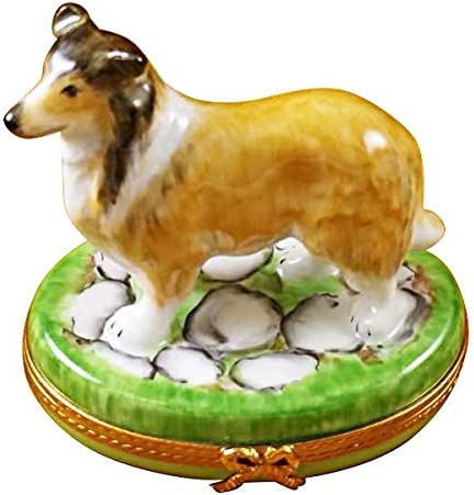 BROWN COLLIE DOG – LIMOGES PORCELAIN FIGURINE BOXES AUTHENTIC IMPORTS