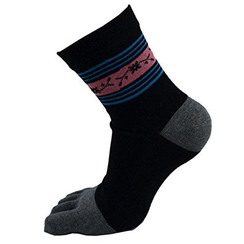 DZT1968® Print Middle Tube Sports Cotton Five Finger Toe Socks 1Pair (black) For Sale