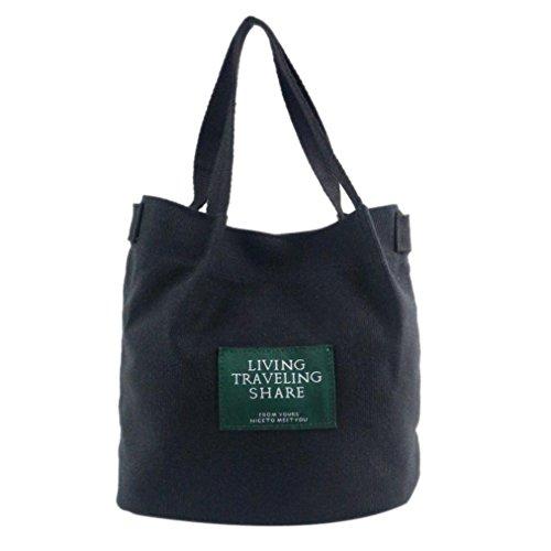 Fashion Women Purse Large Travel Shoulder TM Tote Bag Canvas DEESEE Black Ladies 5ERvxwZaqW