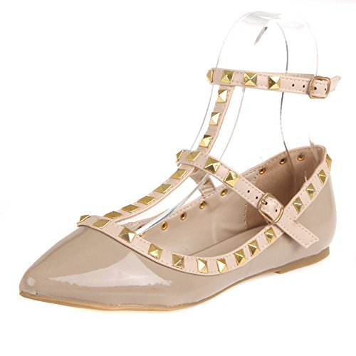T Fashion Pointy Pippa Flats Natural Bar Diva Shoes Patent Studs Wild Women's wRxnYqEZ
