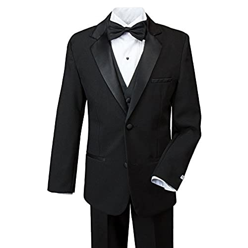 Spring Notion Big Boys Modern Fit Tuxedo Set, No Tail 16 Black