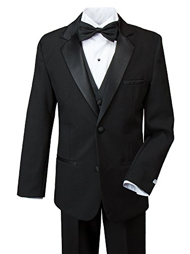 Spring Notion Big Boys' Modern Fit Tuxedo Set, No Tail 16 Black (16 Tuxedo)