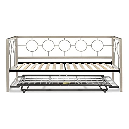 Astoria Complete Metal Daybed with Euro Top Deck and Trundle Bed Pop-Up Frame,