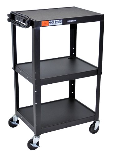 DMD Audio Visual (AV) Utility Cart / Mobile Presentation Station with Three Shelves, Adjustable Height, 3-Outlet Electrical Assembly, High Gloss Metal Cart in Black