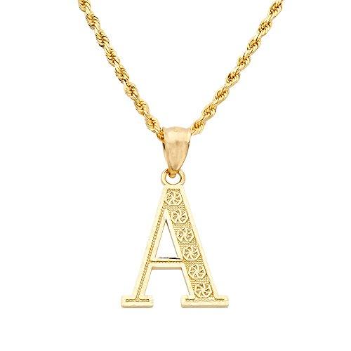 Initial Diamond Cut Letter (MR. BLING 10K Yellow Gold Diamond Cut A to Z Alphabet Initial Letter Charm Pendant (Medium Size) (A) (1.17