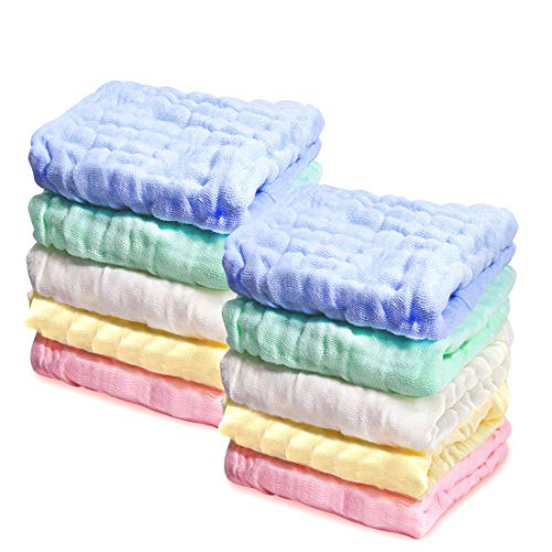 PPOGOO Baby Muslin Washcloths, Towels Premium Extra Soft Newborn Baby Face Towel, Baby Registry as Shower Gift 10 Pack for Sensitive Skin …