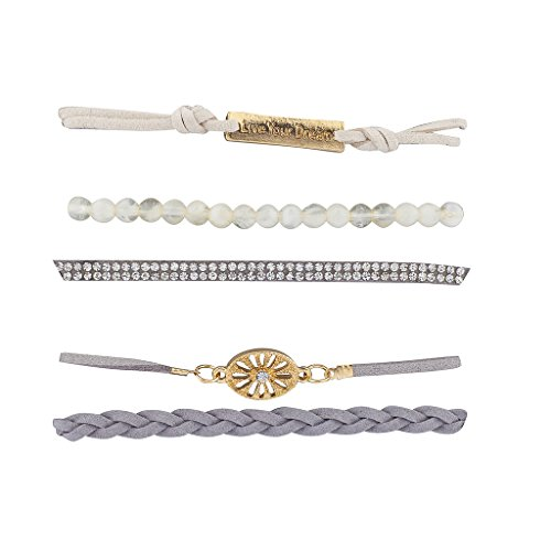 Lux Accessories Goldtone White Opal Crystal Live Your Dream Arm Candy Set ()