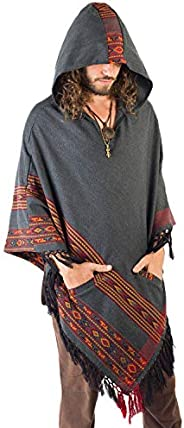 AJJAYA Handmade Mens Yak Wool Dark Grey Hooded Poncho with Two Pockets and Ethnic Embroidery Mexican Primitive