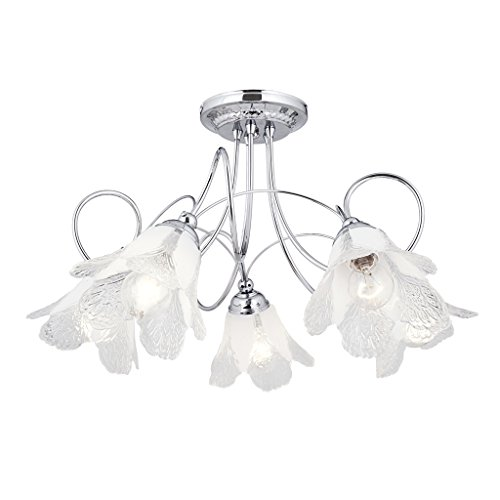 Mikko-5 Lights in the Flower latest thing glass,Chrome finished, Elegant Chandelier (5XE27 MAX.60W)