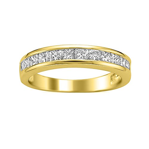 14k Yellow Gold Princess-cut Diamond Bridal Wedding Band Ring (1 cttw, I-J, I2-I3), Size (Yellow Gold Princess Cut Diamond)