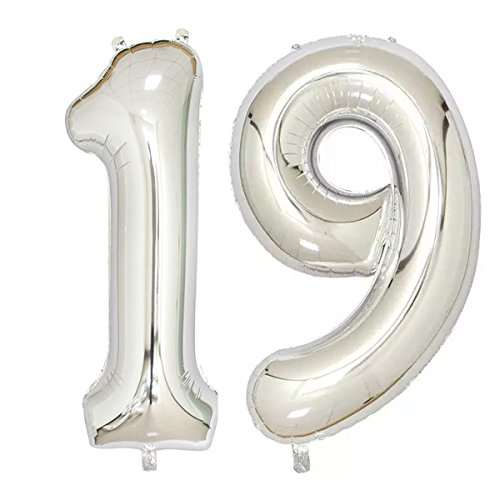 40inch Silver Foil 19 Helium Jumbo Digital Number