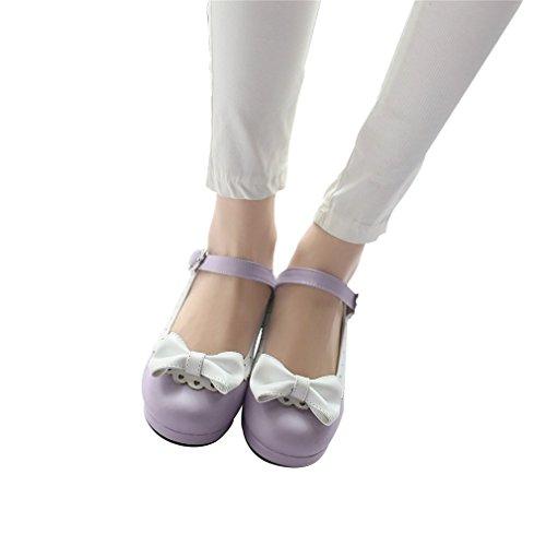 Women's Jane Purple Cute Shoes Bow Chunky Lolita Mary Heel Mid Cosplay Elfy Pumps T6Oxq6B