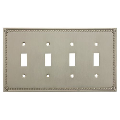 (Cosmas 44036-SN Satin Nickel Quadruple Toggle Switchplate Wall Switch Plate Cover)