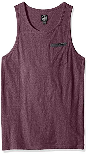 Body Glove Men's Cotton Polyester Pocket Tank Top, Dark Purple Snow Heather, Medium (With Mens Tops Tank Pocket)